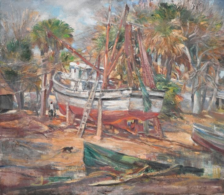 Horace Talmage Day, Toomer's Boatyard, Buckingham Landing, Bluffton, circa 1938. Oil on canvas. Courtesy of Mr. and Mrs. H. Talmage Day.